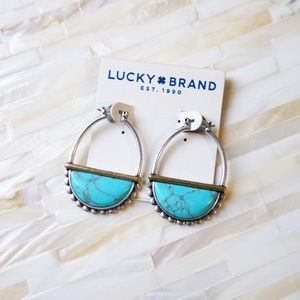 Lucky Brand Silver Tone Turquoise Half Moon Hoops